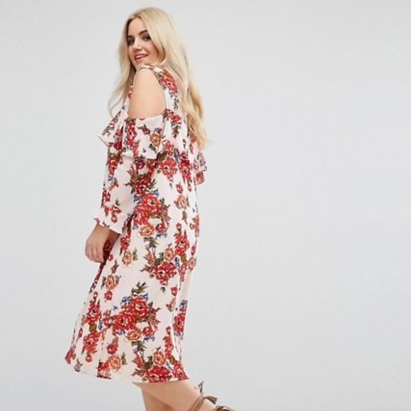 d64222b83d11d NWT Boohoo for ASOS Curve Cold Shoulder Dress
